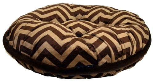Groovy Chevron Print With Brown Fur Welt Round Dog Bed Inzonedesignstudio Interior Chair Design Inzonedesignstudiocom