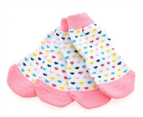 Non Skid Dog Socks - Pink Hearts-Bloomingtails Dog Boutique fa7eac885d42