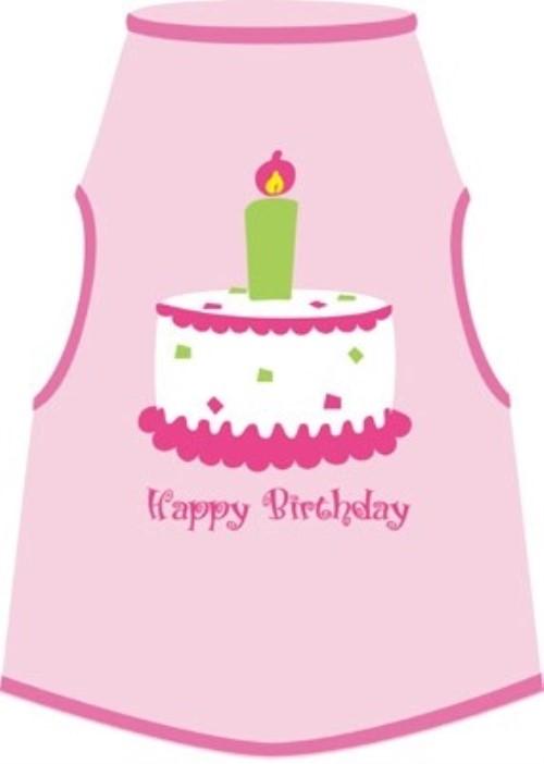 Pink Happy Birthday Dog Tank Shirt