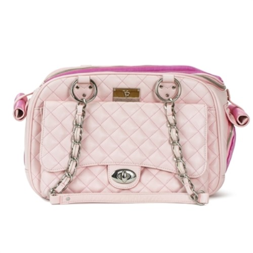c1f300eac59f Vanderpump Quilted Pink Chain Luxury Dog Carrier Bloomingtails. Quilted  Chain Shoulder Bag ...