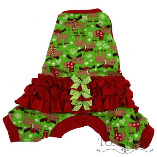 Christmas Pajamas For Dog.Moosey Goosey Dog Ruffled Pajamas