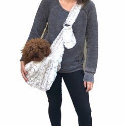 Adjustable Furbaby Sling Bag in Frosted Snow Leopard wooflink, susan lanci, dog clothes, small dog clothes, urban pup, pooch outfitters, dogo, hip doggie, doggie design, small dog dress, pet clotes, dog boutique. pet boutique, bloomingtails dog boutique, dog raincoat, dog rain coat, pet raincoat, dog shampoo, pet shampoo, dog bathrobe, pet bathrobe, dog carrier, small dog carrier, doggie couture, pet couture, dog football, dog toys, pet toys, dog clothes sale, pet clothes sale, shop local, pet store, dog store, dog chews, pet chews, worthy dog, dog bandana, pet bandana, dog halloween, pet halloween, dog holiday, pet holiday, dog teepee, custom dog clothes, pet pjs, dog pjs, pet pajamas, dog pajamas,dog sweater, pet sweater, dog hat, fabdog, fab dog, dog puffer coat, dog winter jacket, dog col