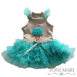 Am So Sweet Dog Dress in Aqua