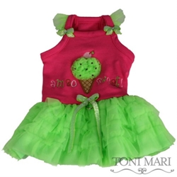 Am So Sweet Dog Dress in Lime