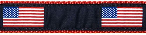 American Flag Collar, Lead & Harness 1.25 inch
