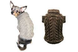 Angora Cable Knit Sweater - Sand or Chocolate