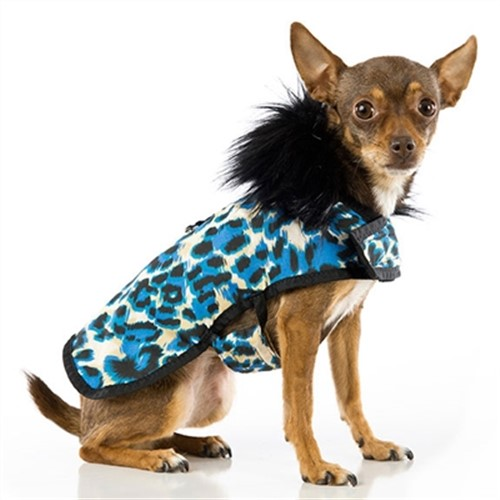 Animal Print Blue Posh Puppy Coat - push-animblue-coat