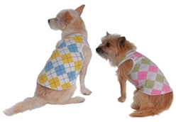 Argyle Dog Tank Shirt - Pink or Blue