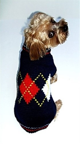 Argyle Plaid  Dog Sweater - Navy - dal-argylenvy8-A2Q