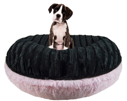 Bagel Bed in Bubble Gum & Black Puma Roxy & Lulu, wooflink, susan lanci, dog clothes, small dog clothes, urban pup, pooch outfitters, dogo, hip doggie, doggie design, small dog dress, pet clotes, dog boutique. pet boutique, bloomingtails dog boutique, dog raincoat, dog rain coat, pet raincoat, dog shampoo, pet shampoo, dog bathrobe, pet bathrobe, dog carrier, small dog carrier, doggie couture, pet couture, dog football, dog toys, pet toys, dog clothes sale, pet clothes sale, shop local, pet store, dog store, dog chews, pet chews, worthy dog, dog bandana, pet bandana, dog halloween, pet halloween, dog holiday, pet holiday, dog teepee, custom dog clothes, pet pjs, dog pjs, pet pajamas, dog pajamas,dog sweater, pet sweater, dog hat, fabdog, fab dog, dog puffer coat, dog winter ja