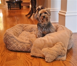 Beige Faux Fur Plush Diamond Dog Bed with Bone & Blanket
