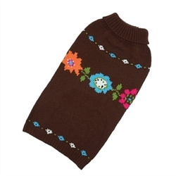 Bella Floral Hand Knit Dog Sweater  Our warm and cozy sweaters are individually hand knit. Perfect for a little extra warmth on cool days, or layered under our coats during chilly winters.  Yarn is 100% acrylic with a soft wool like feel.  Machine wash with like colors and lay flat to dry.  Imported.