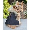 Black Chevron Wool Dog Coat Harness with Fur Collar and Matching Leash  wooflink, susan lanci, dog clothes, small dog clothes, urban pup, pooch outfitters, dogo, hip doggie, doggie design, small dog dress, pet clotes, dog boutique. pet boutique, bloomingtails dog boutique, dog raincoat, dog rain coat, pet raincoat, dog shampoo, pet shampoo, dog bathrobe, pet bathrobe, dog carrier, small dog carrier, doggie couture, pet couture, dog football, dog toys, pet toys, dog clothes sale, pet clothes sale, shop local, pet store, dog store, dog chews, pet chews, worthy dog, dog bandana, pet bandana, dog halloween, pet halloween, dog holiday, pet holiday, dog teepee, custom dog clothes, pet pjs, dog pjs, pet pajamas, dog pajamas,dog sweater, pet sweater, dog hat, fabdog, fab dog, dog puffer coat, dog winter jacket, dog col