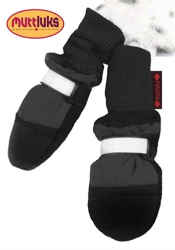 Black Fleece Lined Dog Muttluk Boots   - digpet-black-muttluk