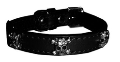 Black Skull Leather Collar