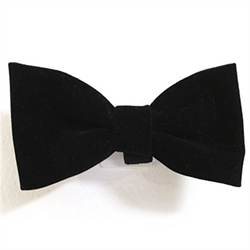 "Black Velvet Bowtie  Fashionable bowtie for your dapper dog. Made in the USA from high-quality materials. Attach to a pets collar for a fun and unique look.  Sizes: Small - 2.5"" wide Medium - 3.25"" wide Large - 4"" wide   Each bowtie is mounted on a hang card for easy merchandising. Because our bowties are handmade, each one varies in size slightly."