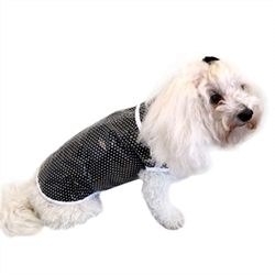 Black & White Dot Dog Raincoat   Plastic Cover Over Cotton Dog Raincoat.  Expandable belly, to fit all widths, with a harness hole And stay dry on any rainy day Made in the USA The perfect rain coat to keep your pup nice and dry. Little cotton prints in sunny colors, all covered in plastic with an all poly binding.  Sizes: Teacup fits dogs 2-3 lbs XSmall 4-7 lbs Small 8-10 lbs Medium 11-15 lbs Large 16-21 lbs XLarge 22-30 lbs