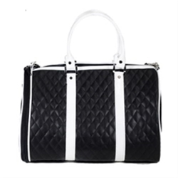 Black & White Quilted Luxe Dog Tote