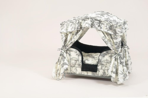 Black & White Toile Dog Canopy Bed