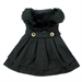 Black Wool Classic Dog Coat Harness with Fur Collar and Matching Leash  - dd-blclassic-coat
