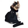 Black Wool Classic Dog Coat Harness with Fur Collar and Matching Leash  Roxy & Lulu, wooflink, susan lanci, dog clothes, small dog clothes, urban pup, pooch outfitters, dogo, hip doggie, doggie design, small dog dress, pet clotes, dog boutique. pet boutique, bloomingtails dog boutique, dog raincoat, dog rain coat, pet raincoat, dog shampoo, pet shampoo, dog bathrobe, pet bathrobe, dog carrier, small dog carrier, doggie couture, pet couture, dog football, dog toys, pet toys, dog clothes sale, pet clothes sale, shop local, pet store, dog store, dog chews, pet chews, worthy dog, dog bandana, pet bandana, dog halloween, pet halloween, dog holiday, pet holiday, dog teepee, custom dog clothes, pet pjs, dog pjs, pet pajamas, dog pajamas,dog sweater, pet sweater, dog hat, fabdog, fab dog, dog puffer coat, dog winter ja