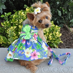 Blue Lagoon Hawaiian Hibiscus Dress with D-Ring and Matching Leash   wooflink, susan lanci, dog clothes, small dog clothes, urban pup, pooch outfitters, dogo, hip doggie, doggie design, small dog dress, pet clotes, dog boutique. pet boutique, bloomingtails dog boutique, dog raincoat, dog rain coat, pet raincoat, dog shampoo, pet shampoo, dog bathrobe, pet bathrobe, dog carrier, small dog carrier, doggie couture, pet couture, dog football, dog toys, pet toys, dog clothes sale, pet clothes sale, shop local, pet store, dog store, dog chews, pet chews, worthy dog, dog bandana, pet bandana, dog halloween, pet halloween, dog holiday, pet holiday, dog teepee, custom dog clothes, pet pjs, dog pjs, pet pajamas, dog pajamas,dog sweater, pet sweater, dog hat, fabdog, fab dog, dog puffer coat, dog winter jacket, dog col