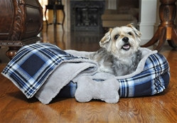 Blue Plaid Dog Bed with Bone & Blanket