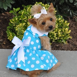 Blue Polka Dot Dress with D-Ring and Matching Leash  wooflink, susan lanci, dog clothes, small dog clothes, urban pup, pooch outfitters, dogo, hip doggie, doggie design, small dog dress, pet clotes, dog boutique. pet boutique, bloomingtails dog boutique, dog raincoat, dog rain coat, pet raincoat, dog shampoo, pet shampoo, dog bathrobe, pet bathrobe, dog carrier, small dog carrier, doggie couture, pet couture, dog football, dog toys, pet toys, dog clothes sale, pet clothes sale, shop local, pet store, dog store, dog chews, pet chews, worthy dog, dog bandana, pet bandana, dog halloween, pet halloween, dog holiday, pet holiday, dog teepee, custom dog clothes, pet pjs, dog pjs, pet pajamas, dog pajamas,dog sweater, pet sweater, dog hat, fabdog, fab dog, dog puffer coat, dog winter jacket, dog col