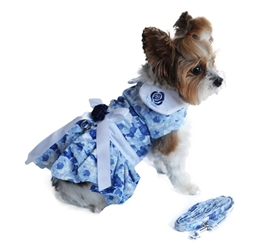 Blue Rose Dress with D-Ring and Matching Leash   wooflink, susan lanci, dog clothes, small dog clothes, urban pup, pooch outfitters, dogo, hip doggie, doggie design, small dog dress, pet clotes, dog boutique. pet boutique, bloomingtails dog boutique, dog raincoat, dog rain coat, pet raincoat, dog shampoo, pet shampoo, dog bathrobe, pet bathrobe, dog carrier, small dog carrier, doggie couture, pet couture, dog football, dog toys, pet toys, dog clothes sale, pet clothes sale, shop local, pet store, dog store, dog chews, pet chews, worthy dog, dog bandana, pet bandana, dog halloween, pet halloween, dog holiday, pet holiday, dog teepee, custom dog clothes, pet pjs, dog pjs, pet pajamas, dog pajamas,dog sweater, pet sweater, dog hat, fabdog, fab dog, dog puffer coat, dog winter jacket, dog col