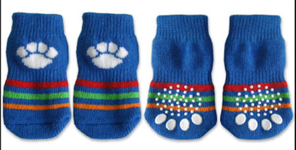 Blue & White Paw Print Dog Socks