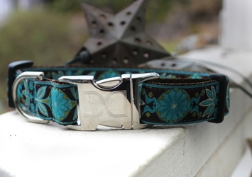 Boho Peacock Dog Collar-Personalizable  wooflink, susan lanci, dog clothes, small dog clothes, urban pup, pooch outfitters, dogo, hip doggie, doggie design, small dog dress, pet clotes, dog boutique. pet boutique, bloomingtails dog boutique, dog raincoat, dog rain coat, pet raincoat, dog shampoo, pet shampoo, dog bathrobe, pet bathrobe, dog carrier, small dog carrier, doggie couture, pet couture, dog football, dog toys, pet toys, dog clothes sale, pet clothes sale, shop local, pet store, dog store, dog chews, pet chews, worthy dog, dog bandana, pet bandana, dog halloween, pet halloween, dog holiday, pet holiday, dog teepee, custom dog clothes, pet pjs, dog pjs, pet pajamas, dog pajamas,dog sweater, pet sweater, dog hat, fabdog, fab dog, dog puffer coat, dog winter jacket, dog col