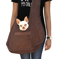 Boho Sling Dog Carrier in Chocolate wooflink, susan lanci, dog clothes, small dog clothes, urban pup, pooch outfitters, dogo, hip doggie, doggie design, small dog dress, pet clotes, dog boutique. pet boutique, bloomingtails dog boutique, dog raincoat, dog rain coat, pet raincoat, dog shampoo, pet shampoo, dog bathrobe, pet bathrobe, dog carrier, small dog carrier, doggie couture, pet couture, dog football, dog toys, pet toys, dog clothes sale, pet clothes sale, shop local, pet store, dog store, dog chews, pet chews, worthy dog, dog bandana, pet bandana, dog halloween, pet halloween, dog holiday, pet holiday, dog teepee, custom dog clothes, pet pjs, dog pjs, pet pajamas, dog pajamas,dog sweater, pet sweater, dog hat, fabdog, fab dog, dog puffer coat, dog winter jacket, dog col