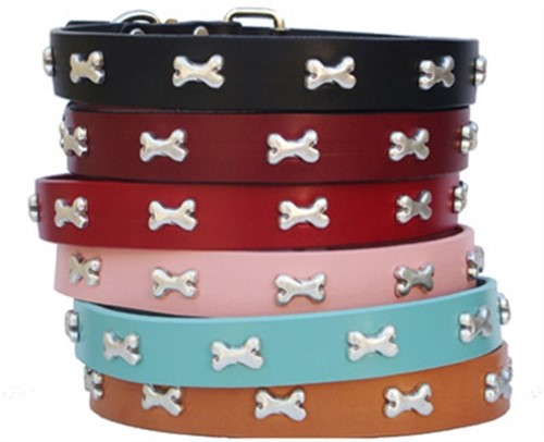 Bone Full Grain Leather Collar & Lead in many Colors