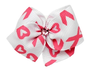 Breast Cancer Designer Hair Bow Barrette