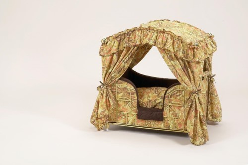 Brown & Gold Floral Dog Canopy Bed
