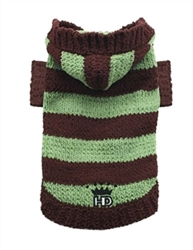 Brown & Green Striped Hooded Sweater