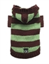 Brown & Green Striped Hooded Sweater wooflink, susan lanci, dog clothes, small dog clothes, urban pup, pooch outfitters, dogo, hip doggie, doggie design, small dog dress, pet clotes, dog boutique. pet boutique, bloomingtails dog boutique, dog raincoat, dog rain coat, pet raincoat, dog shampoo, pet shampoo, dog bathrobe, pet bathrobe, dog carrier, small dog carrier, doggie couture, pet couture, dog football, dog toys, pet toys, dog clothes sale, pet clothes sale, shop local, pet store, dog store, dog chews, pet chews, worthy dog, dog bandana, pet bandana, dog halloween, pet halloween, dog holiday, pet holiday, dog teepee, custom dog clothes, pet pjs, dog pjs, pet pajamas, dog pajamas,dog sweater, pet sweater, dog hat, fabdog, fab dog, dog puffer coat, dog winter jacket, dog col