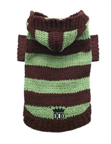 Brown & Green Striped Hooded Sweater - hip-brsweaterX-AEM