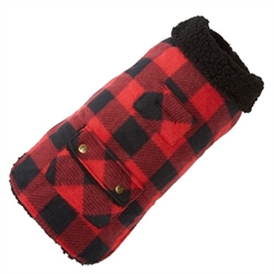 Buffalo Check Fleece Coat  Style and warmth are yours with this classic coat. Two layers of fleece, with a contrasting collar. features include a harness patch and velcro closures.  Fabric is 100% polyester.  Machine wash with like colors and machine dry on warm.  Imported.
