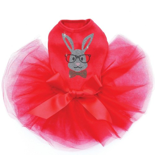 Bunny With Glasses Rhinestone Dress in 3 Colors - dic-bunnyglass