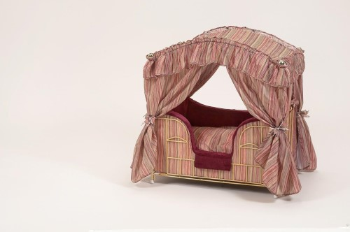 Burgundy Dog Canopy Bed