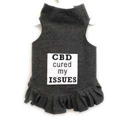CBD Cured My Issues Flounce Dress or Tank  wooflink, susan lanci, dog clothes, small dog clothes, urban pup, pooch outfitters, dogo, hip doggie, doggie design, small dog dress, pet clotes, dog boutique. pet boutique, bloomingtails dog boutique, dog raincoat, dog rain coat, pet raincoat, dog shampoo, pet shampoo, dog bathrobe, pet bathrobe, dog carrier, small dog carrier, doggie couture, pet couture, dog football, dog toys, pet toys, dog clothes sale, pet clothes sale, shop local, pet store, dog store, dog chews, pet chews, worthy dog, dog bandana, pet bandana, dog halloween, pet halloween, dog holiday, pet holiday, dog teepee, custom dog clothes, pet pjs, dog pjs, pet pajamas, dog pajamas,dog sweater, pet sweater, dog hat, fabdog, fab dog, dog puffer coat, dog winter jacket, dog col