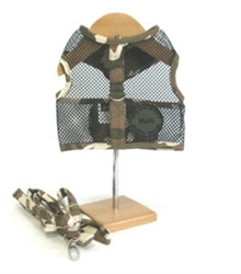 Camo Netted Dog Harness & Leash