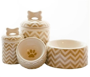 Chevron Bowl & Treat Jar Series
