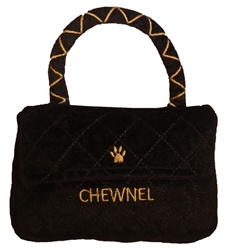 Chewnel Classique Black Purse Plush Dog Toy  wooflink, susan lanci, dog clothes, small dog clothes, urban pup, pooch outfitters, dogo, hip doggie, doggie design, small dog dress, pet clotes, dog boutique. pet boutique, bloomingtails dog boutique, dog raincoat, dog rain coat, pet raincoat, dog shampoo, pet shampoo, dog bathrobe, pet bathrobe, dog carrier, small dog carrier, doggie couture, pet couture, dog football, dog toys, pet toys, dog clothes sale, pet clothes sale, shop local, pet store, dog store, dog chews, pet chews, worthy dog, dog bandana, pet bandana, dog halloween, pet halloween, dog holiday, pet holiday, dog teepee, custom dog clothes, pet pjs, dog pjs, pet pajamas, dog pajamas,dog sweater, pet sweater, dog hat, fabdog, fab dog, dog puffer coat, dog winter jacket, dog col