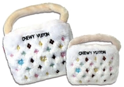 Chewy Vuiton Purse Dog Toy in White   dog bowls,susan lanci, puppia,wooflink, luxury dog boutique,tonimari,pet clothes, dog clothes, puppy clothes, pet store, dog store, puppy boutique store, dog boutique, pet boutique, puppy boutique, Bloomingtails, dog, small dog clothes, large dog clothes, large dog costumes, small dog costumes, pet stuff, Halloween dog, puppy Halloween, pet Halloween, clothes, dog puppy Halloween, dog sale, pet sale, puppy sale, pet dog tank, pet tank, pet shirt, dog shirt, puppy shirt,puppy tank, I see spot, dog collars, dog leads, pet collar, pet lead,puppy collar, puppy lead, dog toys, pet toys, puppy toy, dog beds, pet beds, puppy bed,  beds,dog mat, pet mat, puppy mat, fab dog pet sweater, dog sweater, dog winter, pet winter,dog raincoat, pet raincoat