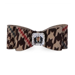 Chocolate Glen Houndstooth Big Bow Hair Bow by Susan Lanci wooflink, susan lanci, dog clothes, small dog clothes, urban pup, pooch outfitters, dogo, hip doggie, doggie design, small dog dress, pet clotes, dog boutique. pet boutique, bloomingtails dog boutique, dog raincoat, dog rain coat, pet raincoat, dog shampoo, pet shampoo, dog bathrobe, pet bathrobe, dog carrier, small dog carrier, doggie couture, pet couture, dog football, dog toys, pet toys, dog clothes sale, pet clothes sale, shop local, pet store, dog store, dog chews, pet chews, worthy dog, dog bandana, pet bandana, dog halloween, pet halloween, dog holiday, pet holiday, dog teepee, custom dog clothes, pet pjs, dog pjs, pet pajamas, dog pajamas,dog sweater, pet sweater, dog hat, fabdog, fab dog, dog puffer coat, dog winter jacket, dog col