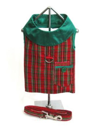 Christmas Plaid Dog Harness & Leash - Dogdes-christmas-harnessX-RSW