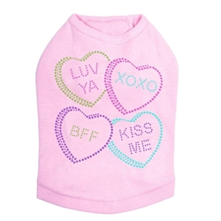 Conversation Hearts Dog Shirt in Many Colors  Roxy & Lulu, wooflink, susan lanci, dog clothes, small dog clothes, urban pup, pooch outfitters, dogo, hip doggie, doggie design, small dog dress, pet clotes, dog boutique. pet boutique, bloomingtails dog boutique, dog raincoat, dog rain coat, pet raincoat, dog shampoo, pet shampoo, dog bathrobe, pet bathrobe, dog carrier, small dog carrier, doggie couture, pet couture, dog football, dog toys, pet toys, dog clothes sale, pet clothes sale, shop local, pet store, dog store, dog chews, pet chews, worthy dog, dog bandana, pet bandana, dog halloween, pet halloween, dog holiday, pet holiday, dog teepee, custom dog clothes, pet pjs, dog pjs, pet pajamas, dog pajamas,dog sweater, pet sweater, dog hat, fabdog, fab dog, dog puffer coat, dog winter ja