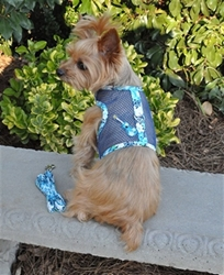 Cool Mesh Harness w/Leash & D-Ring - Ukelele Blue Hibiscus wooflink, susan lanci, dog clothes, small dog clothes, urban pup, pooch outfitters, dogo, hip doggie, doggie design, small dog dress, pet clotes, dog boutique. pet boutique, bloomingtails dog boutique, dog raincoat, dog rain coat, pet raincoat, dog shampoo, pet shampoo, dog bathrobe, pet bathrobe, dog carrier, small dog carrier, doggie couture, pet couture, dog football, dog toys, pet toys, dog clothes sale, pet clothes sale, shop local, pet store, dog store, dog chews, pet chews, worthy dog, dog bandana, pet bandana, dog halloween, pet halloween, dog holiday, pet holiday, dog teepee, custom dog clothes, pet pjs, dog pjs, pet pajamas, dog pajamas,dog sweater, pet sweater, dog hat, fabdog, fab dog, dog puffer coat, dog winter jacket, dog col